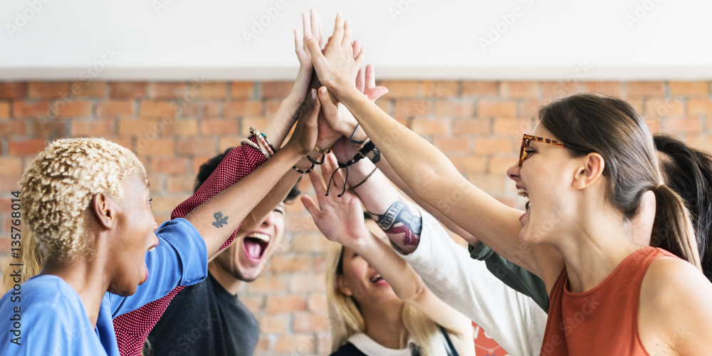 Fototapeta Teamwork Power Successful Meeting Workplace Concept