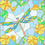 Illustration in stained glass style with bright dragonfly against the sky, foliage and flowers