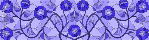 Illustration in stained glass style with abstract  swirls,flowers and leaves   ,horizontal orientation,gamma blue