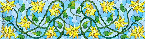 Illustration in stained glass style with abstract yellow flowers on a blue  background,horizontal orientation
