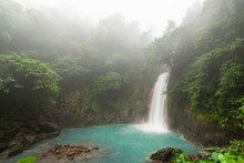 Rio Celeste Waterfall At Foggy Day