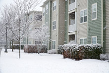 Apartment Community Outdoor In Winter After Snow