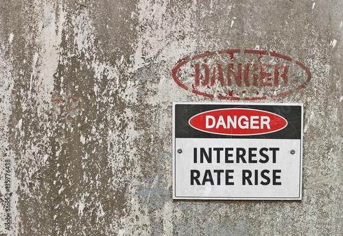 Fotografía  red, black and white Danger, Interest Rate Rise warning sign