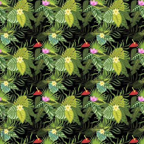 Poster Fleur Leaves seamless pattern vector