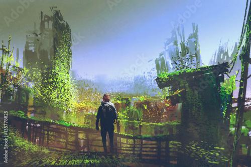 Poster Kaki man standing on old bridge in overgrown city,illustration painting