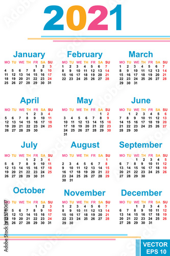 Poster  The calendar. New Year 2021 date. For your design.