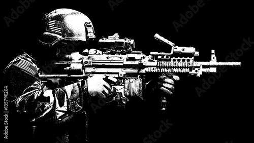 Canvastavla United states Marine Corps special operations command Marsoc raider with machine gun