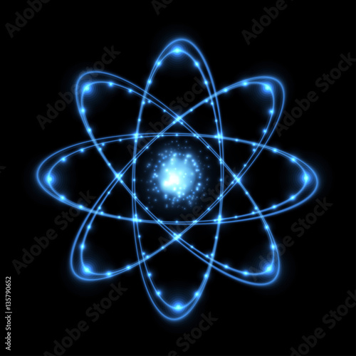 Photo Abstract atom from particles. Vector illustration.