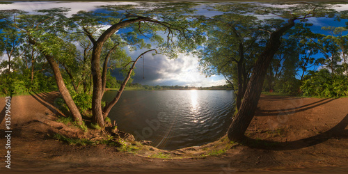 Poster Marron chocolat Full 360 degree equirectangula panorama forest lake at sunset