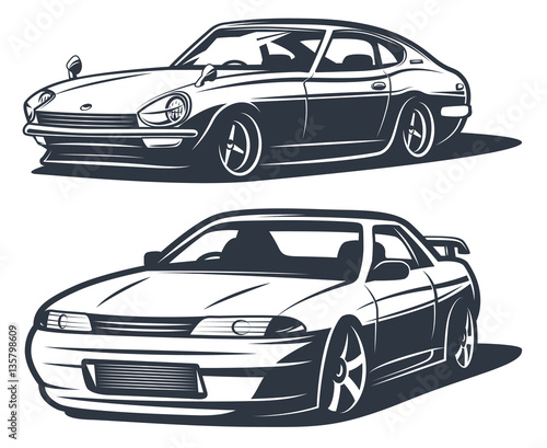 Cuadros en Lienzo Japanese drift cars, monochrome isolate vector
