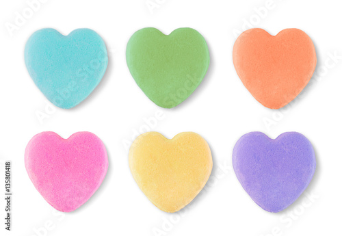 Canvas Prints Candy Blank Candy Valentines Hearts Isolated on White Background.