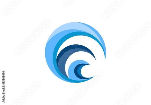 circle wave logo swirl blue waves water symbol icon letter c e