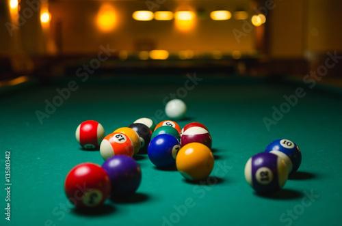 Wallpaper Mural Billiard balls on green table.