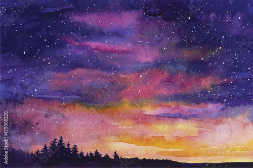 Watercolor vector background Space, stars, constellation, nebula Wallpaper Mural