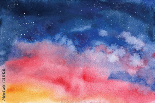 Watercolor vector background Space, stars, constellation, nebula Canvas Print