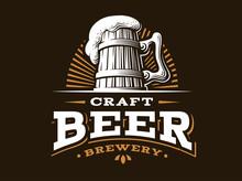 Craft Beer Logo- Vector Illustration, Emblem Brewery Design On Dark Background