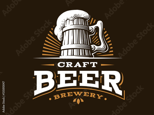 Obraz na plátně Craft beer logo- vector illustration, emblem brewery design on dark background