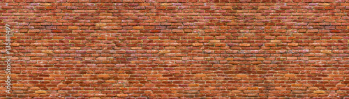 grunge brick wall, old brickwork panoramic view - 135811497
