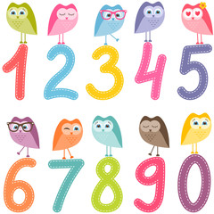 Naklejka numbers from zero to nine with the owls