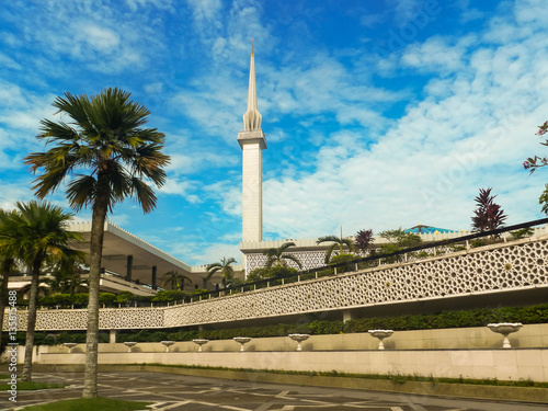 Modern mosque in tropical Malaysia Poster
