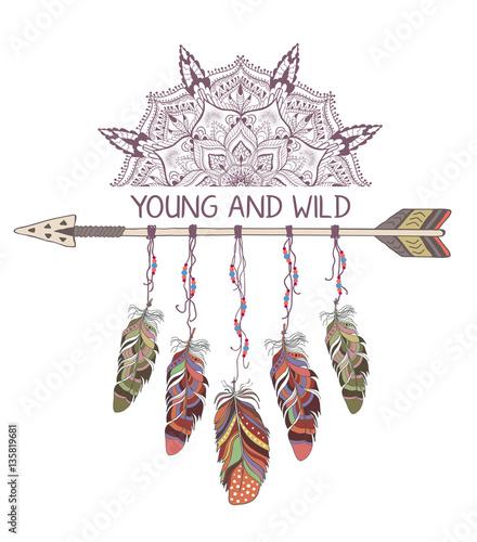 Foto auf AluDibond Boho-Stil Hand drawn boho style design with mandala, arrow and feathers.