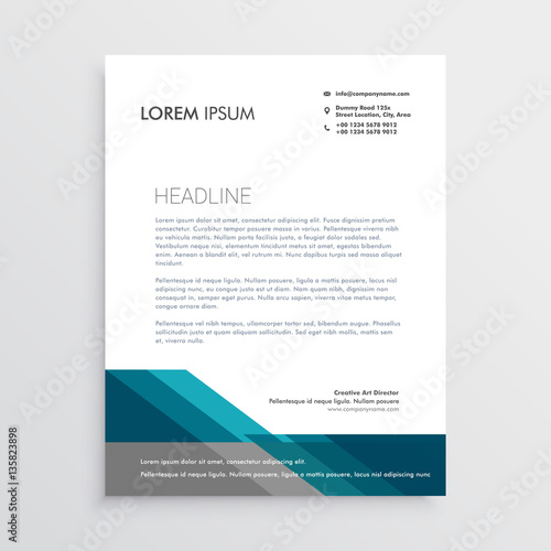 Fototapeta elegant letterhead design template with blue and gray geometric obraz