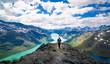 Young woman hiking in the mountains. Besseggen, Jotunheimen, Norway