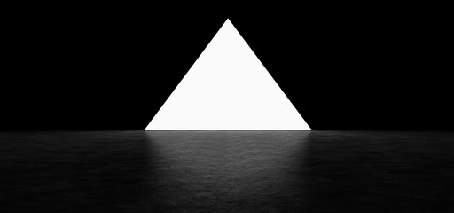 Glowing pyramid on dark background