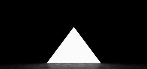 Glowing pyramid on dark background