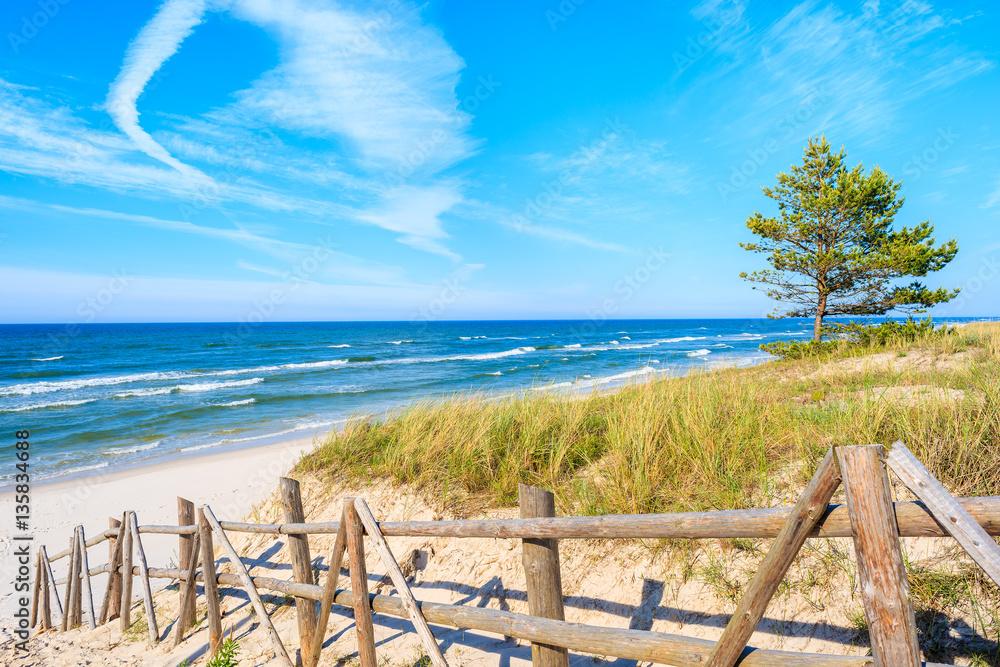 Fototapety, obrazy: Wejście do piaszczystej plaży Białogora, Morze Bałtyckie, Polska