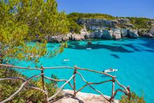 View Of Beautiful Bay Of Cala Macarelleta, Menorca Island, Spain