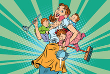 Cheerful Mother With Three Children