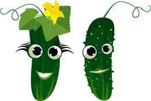 Couple Of Funny Cucumbers. Per...
