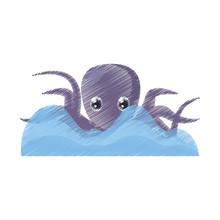 Drawing Purple Octopus Sea Lif...