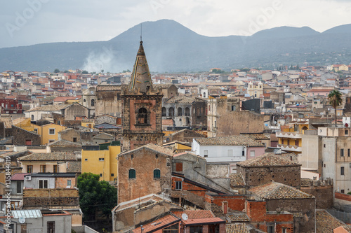 Vászonkép  A view over old town of Adrano in the rainy weather, Sicily isla