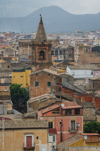 Fényképezés  A view over old town of Adrano in the rainy weather, Sicily isla