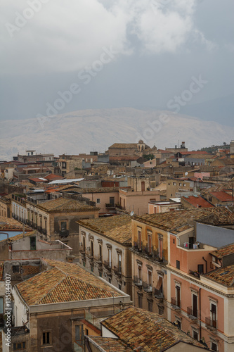 Valokuva  A view over old town of Adrano in the rainy weather, Sicily isla