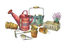 Illustration Of Gardening Tool...