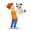 Boy with a dog.