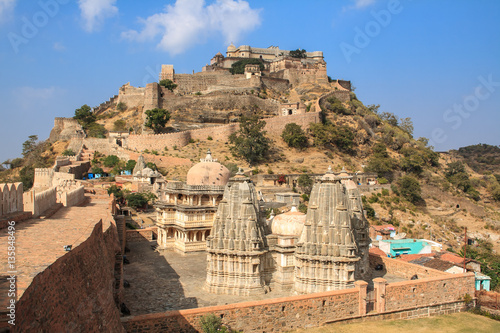 Poster Monument Temple of the interior of Fort Kumbhalgarh, India