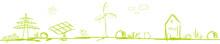 Band Banner Grün Energie Landschaft Skizze Zeichnung Energy Business Solar Windenergie