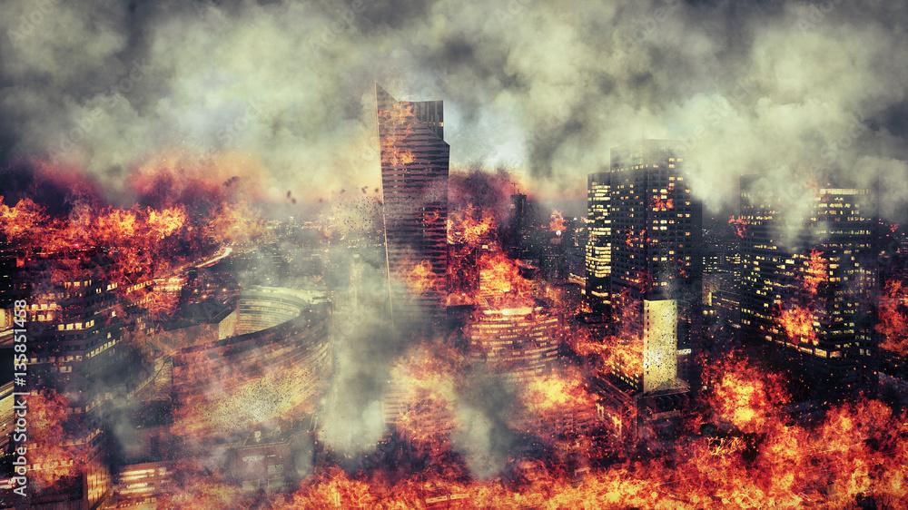 Fototapety, obrazy: Apokalipsa. Płonące miasto, abstrakcyjna wizja