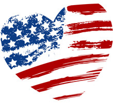 Grunge USA Flag In Heart Shape