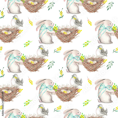 Cotton fabric Seamless pattern with watercolor Easter rabbits, nests with bird eggs, yellow and green branches, hand drawn isolated on a white background