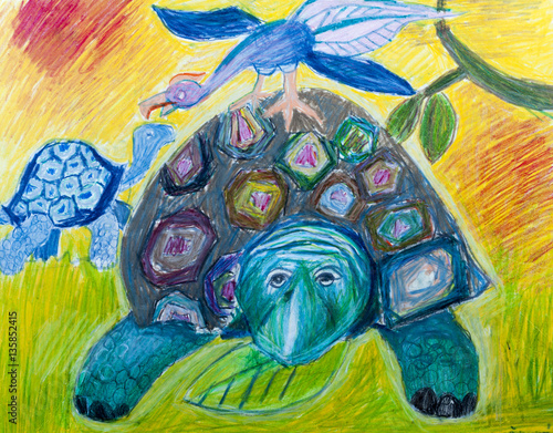 Poster Carnaval The two turtle in a meadow