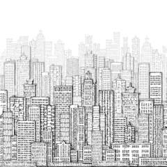 FototapetaCity landmark background. Hand drawn illustration