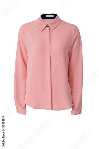Photo Pink women's blouse isolated on white background