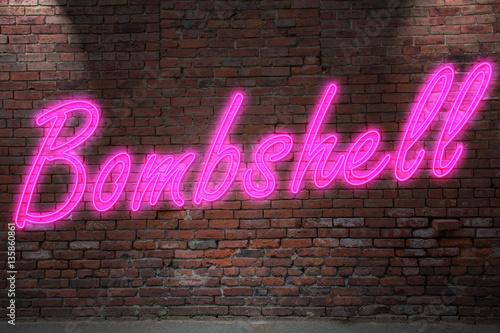 Leuchtreklame Bombshell an Ziegelsteinmauer Canvas Print