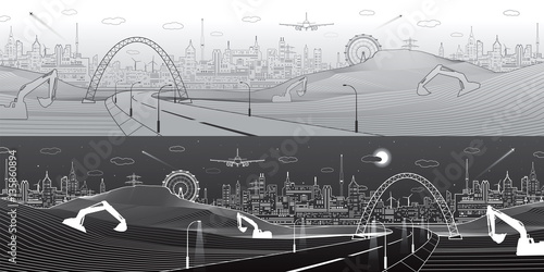 City infrastructure panorama, industrial landscape, building ...