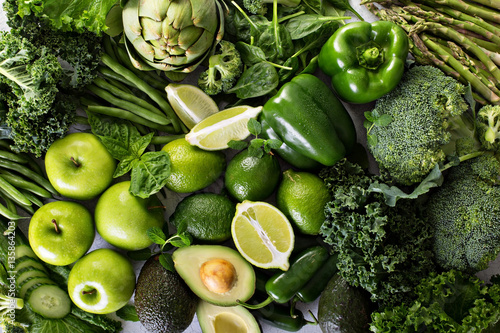 Poster Cuisine Variety of green vegetables and fruits